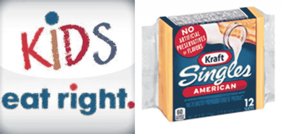 Kraft Singles gets Kids Eat Right logo