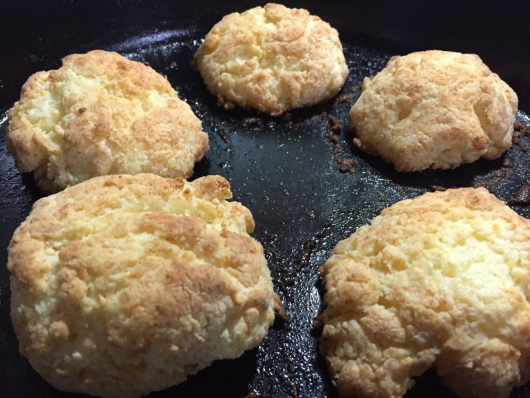 Biscuits in frying pan